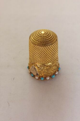 ANTIQUE ENGLISH 9CT GOLD SPLIT PEARLS AND TURQUOISE THIMBLE JAMES SWANN  (2250)