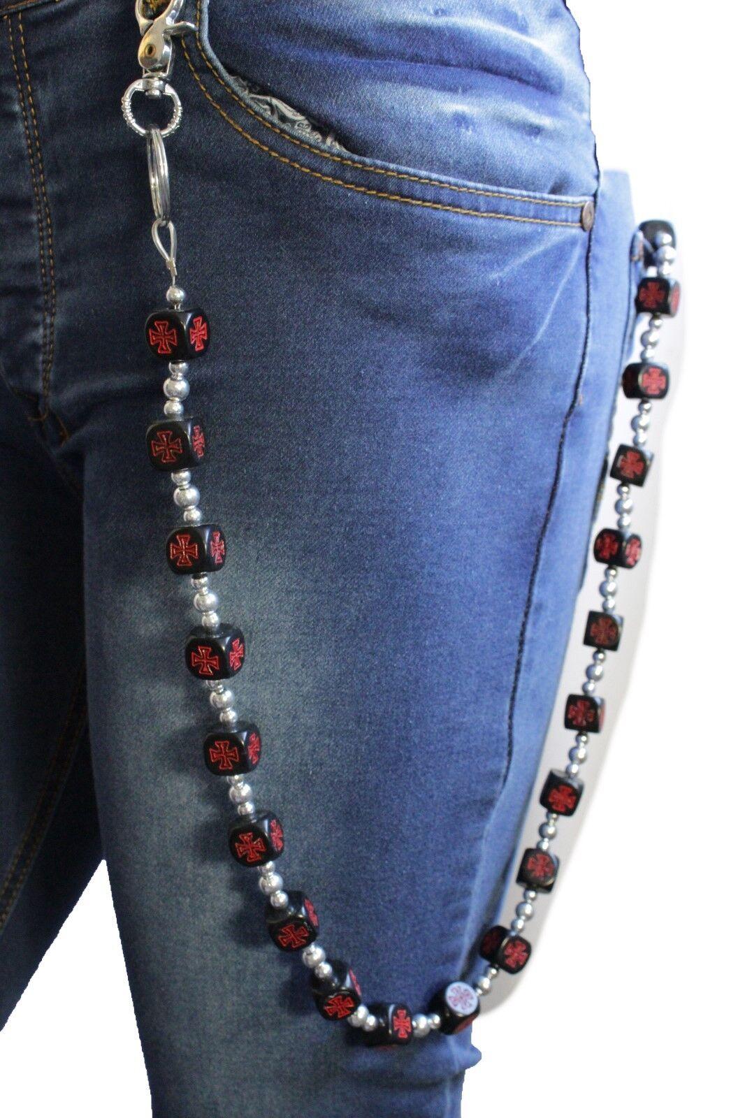 Men Long Wallet Chain KeyChain Jeans Biker Black Wood Dice R