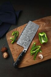 KATSURA Japanese Premium Damascus AUS 10 Chinese Cleaver Knife Cutlery 6.5 inch