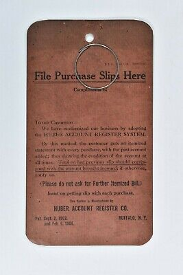 Vintage 1906 Huber Account Register Retail Billing Accounting System Slip Holder