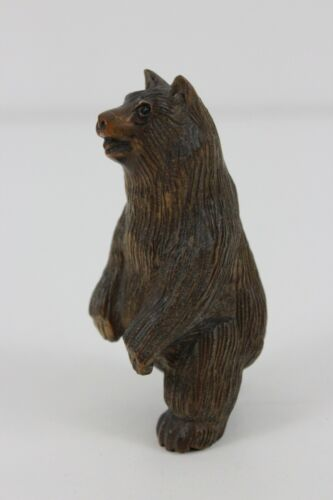 19th Century Japanese Netsuke BoxWood Handmade Bear  SIGNED 5.5cm