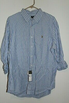 Polo Ralph Lauren Long Sleeve Oxford Shirt - MClassics Blue White Stripe S - (Blue And White Ralph Lauren Polo)