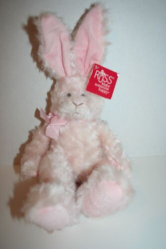 (D)  Russ soft Plush bunny rabbit PLATINUM BUNNY PINK lovey My First Easter
