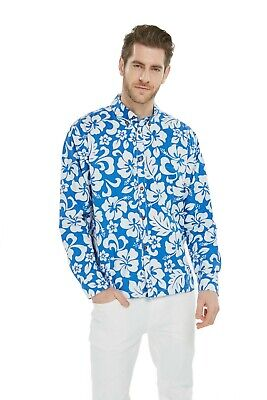 - Hawaii Hangover Men Hawaiian Aloha Long Sleeve Shirt Hibiscus Blue Floral Luau