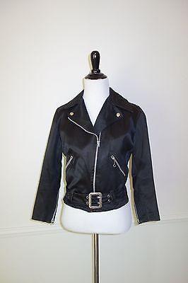 Vintage 30s Beck Northeaster Black Satin Motorcycle Jacket Womens