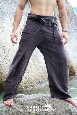 Hemp Thai Fisherman Pants Hippie Brown Yoga Plain Kung Fu Martial Arts Festival