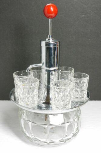 Vintage Park Sherman Pump Drink Shot Dispenser w/ 6 Original Shot Glasses 1940s