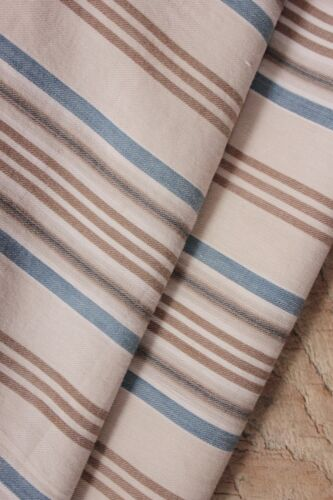 Ticking Fabric French blue & brown striped large pillow cover circa 1900 antique