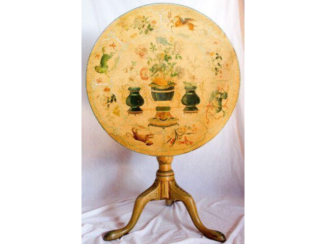 Antique Georgian Tilt Top Tea Side Table Hand Painted Floral Asian Chinoiserie