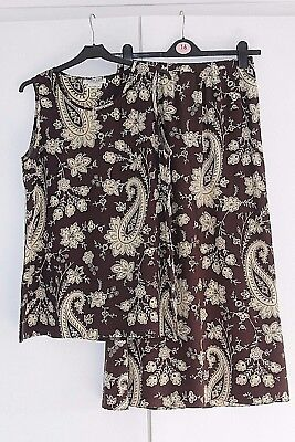 JAEGER Vintage Silk Top and Skirt Set Brown and Cream Paisley Size M