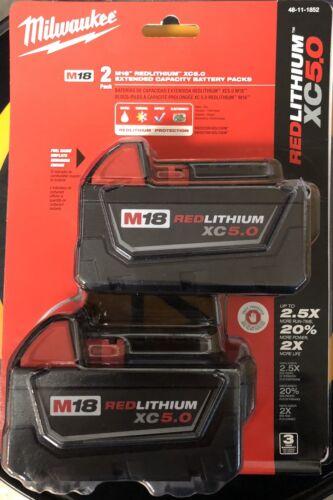 New Milwaukee M18 48-11-1850 5.0 AH Batteries 5.0 18V
