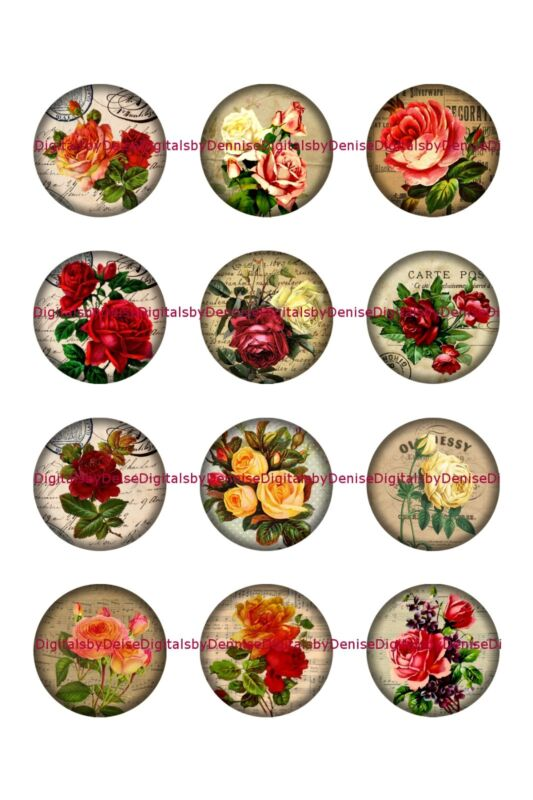 """ROSES 1 """" CIRCLES  BOTTLE CAP IMAGES. $2.45-$5.50   *****FREE SHIPPING*****"""