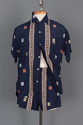 AUTH 1950'S DUKE KAHANAMOKU LOOP COLLAR CABANA SET SHIRT & MATCHING SWIM TRUNKS