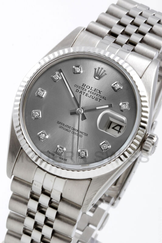 Rolex Mens Datejust Steel Slate Diamond Gold Fluted Jubilee 16014 Quickset