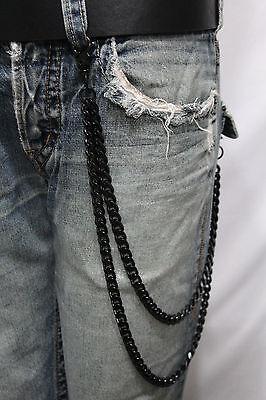 Men Black Long Wallet Chains Metal Links KeyChain Jeans 2 Strands Chunky Biker