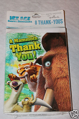 NEW ICE AGE DAWN OF THE DINOSAURS 8 THANK YOU NOTES  PARTY SUPPLIES ()