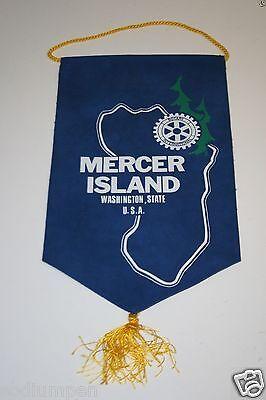 Rare Vintage Mercer Island Washington Rotary International Club Wall Banner Flag