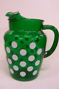 RETRO EMERALD GREEN WATER LEMONADE PITCHER WHITE POLKA DOT DESIGN