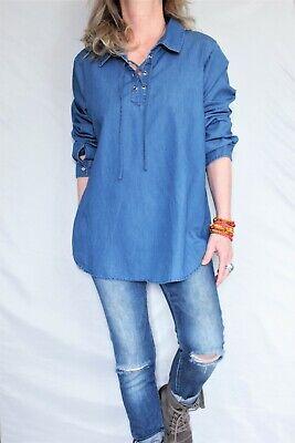 Blue Corset Top (Christopher & Banks L Sleeve Corset Tie Lace Back Top Denim Blue Sz)