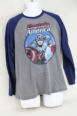Marvel Captain America Superhero Varsity Baseball Mens Gray Blue T Shirt Size L