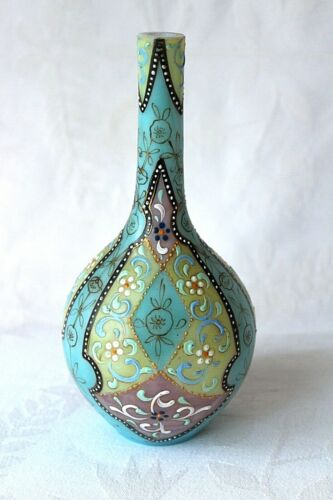 Antique Thomas Webb Orientalist enameled glass vase c 1879