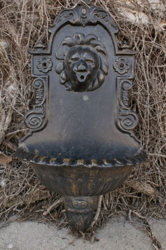 Antique Cast Iron Lion Head French Ornate Wall Mount Fountain