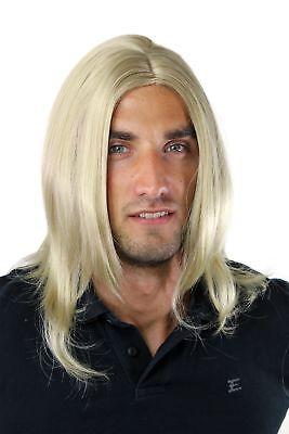 Herrenperücke Lang Jugendlich Modisch Blond Dunkelblond Mittelscheitel - Blonde Herren Perücke
