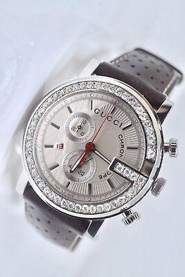 6c932220b5c New Gucci G-chronograph Ya101312 white Dial Custom Set 2.00 Ct.apx.Diamond