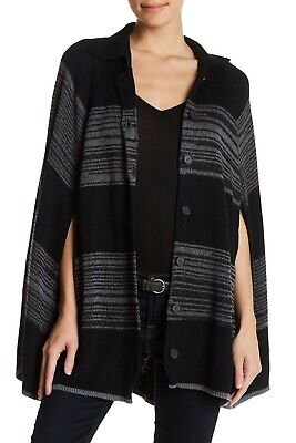 NWT Michael Stars Collar Cape Knit Poncho Black Gray CC312 Women's M/L $298 Collar Cotton Women Poncho