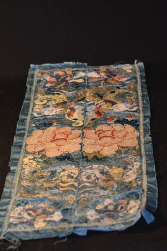 Chinese Antique Embroidery Forbidden Stitch Panel - 18 x 9 inches wide - 🐘