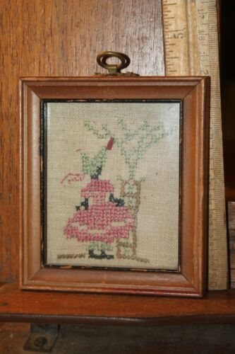"Antique Black Americana Cross Stitch Framed Girl at Tree 3-1/2"" x 4"" Needle Work"