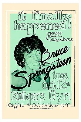 Classic Rock:  Bruce Springsteen at Rutgers University Concert Poster 1976 12x18