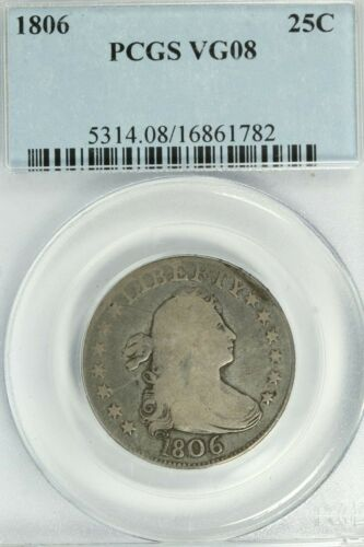 1806 Draped Bust Quarter : PCGS VG08