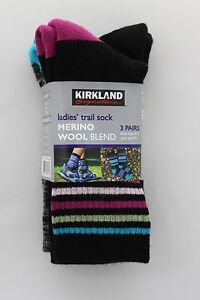 KIRKLAND Ladies Hiking Trail Socks 3 pairs, Merino wool womens Black and Multi