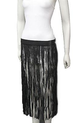 Women Black Fashion Belt Hip Extra Long Faux Leather Dance Skirt Fringes S M