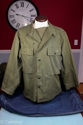 US WW2 Army HBT Field Combat Jacket Nr Mint Cutter Tags 1943 40R NICE! J122