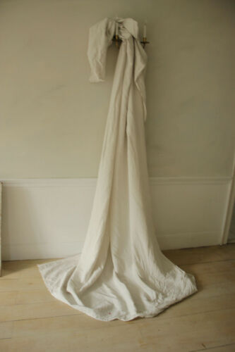 French white pure linen sheet 1920 T monogram 81X130 lace edge fabric antique