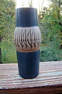 Lisa Larson Gustavsberg Blue with Black Incised Lines Modernist Mid Century Vase