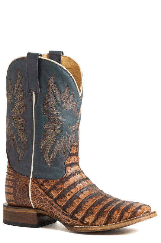 Stetson, Mens, Cognac/Blue, Caiman, Deadeye, Cowboy, Boots