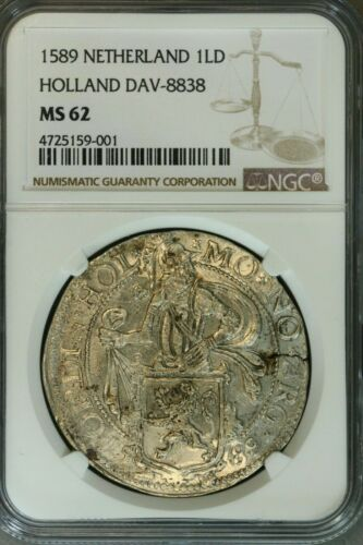 Netherlands 1589 1 Lion Daalder NGC-MS62!  Extremely Rare in Uncirculated