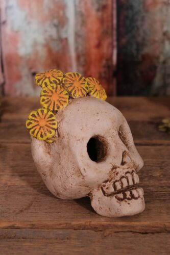 Sm Sugar Skull Clay Los Muertos Frida Handmade by Rafael Pineda Mexican Folk Art