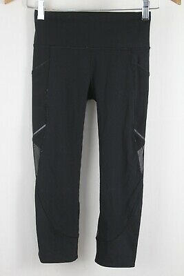 Lululemon Womens Run Solid Black Mesh Cropped Capri Leggings sz 2
