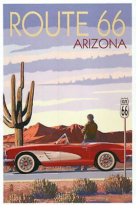 Route 66 Arizona, Corvette with Red Rocks, Cactus, Mother Road - Modern Postcard