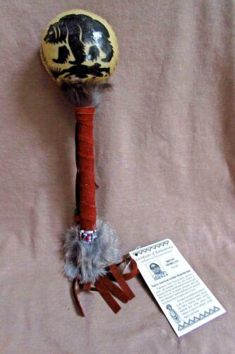 Navajo Handmade Rawhide Bear Spirit Rattle by Irene Morgan  M0222