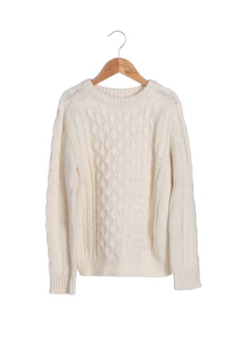 CREWCUTS Cable Knit Sweater 6 - 7 Ivory Long Sleeve Girls Chunky Pullover Boys