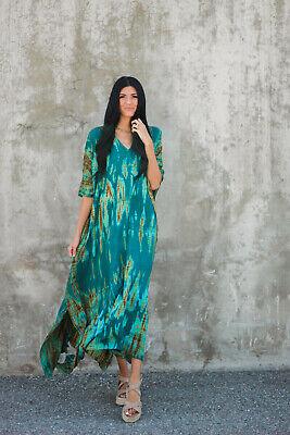 Tie dye kaftan with pockets, shibori caftan, hand tie dyed dress, Plus size