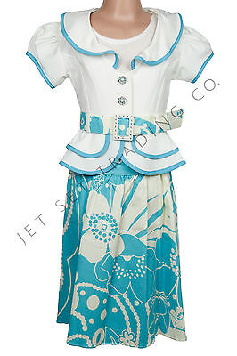 Fancy Girl 4pcs Set Ivory & Teal Floral Dress for all Occasions Sizes 7 to 16 - Fancy Dresses For Girls