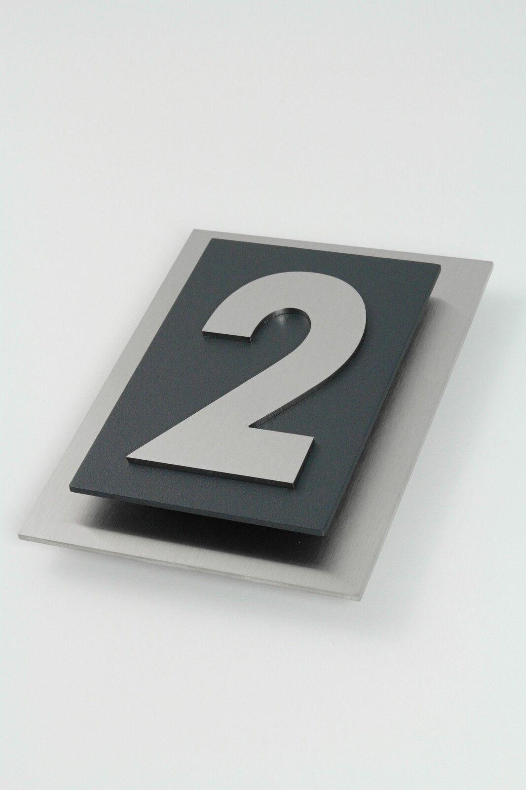 hausnummer edelstahl anthrazit ral 7016 design verona v2a. Black Bedroom Furniture Sets. Home Design Ideas