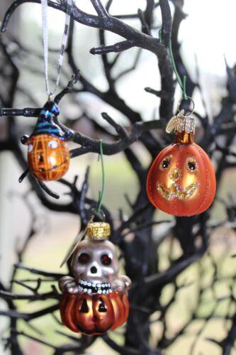 set of 3 Halloween glass+ ornaments ~ pumpkin jack-o-lanterns w/ skull
