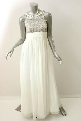 BOUTIQUE White Beaded Bodice Chiffon Empire Dress 4 $299 Chiffon Empire Beaded Bodice Dress